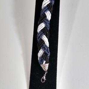 Bracelet Blue Black White Silver Braided Bead